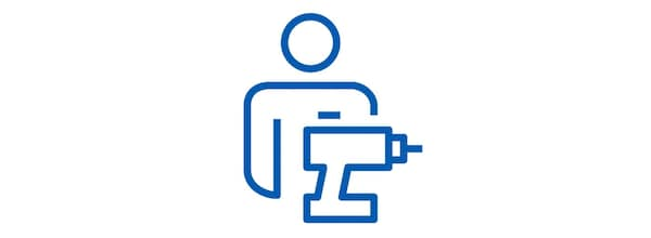 Pictogram of a man and a power tool