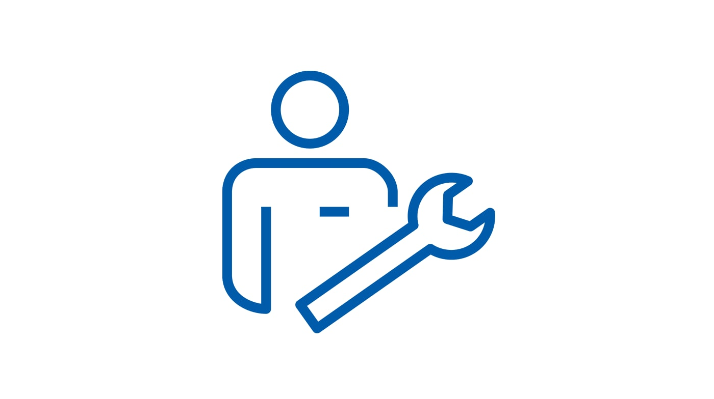 Pictogram of a man and a wrench.