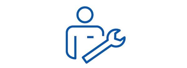 Pictogram of a man and a wrench