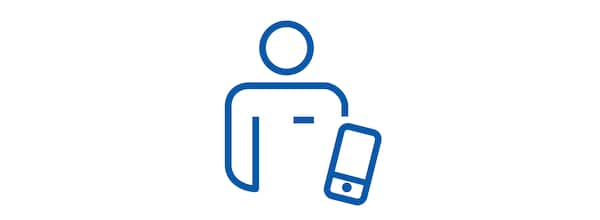 Pictogram of a man with a smart phone.