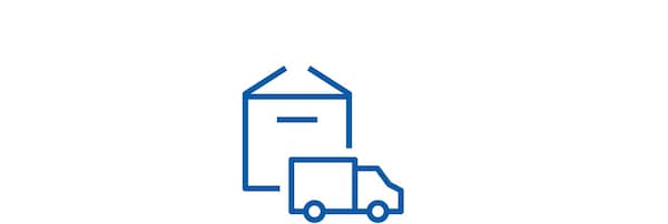 Pictogram of a parcel and a truck.