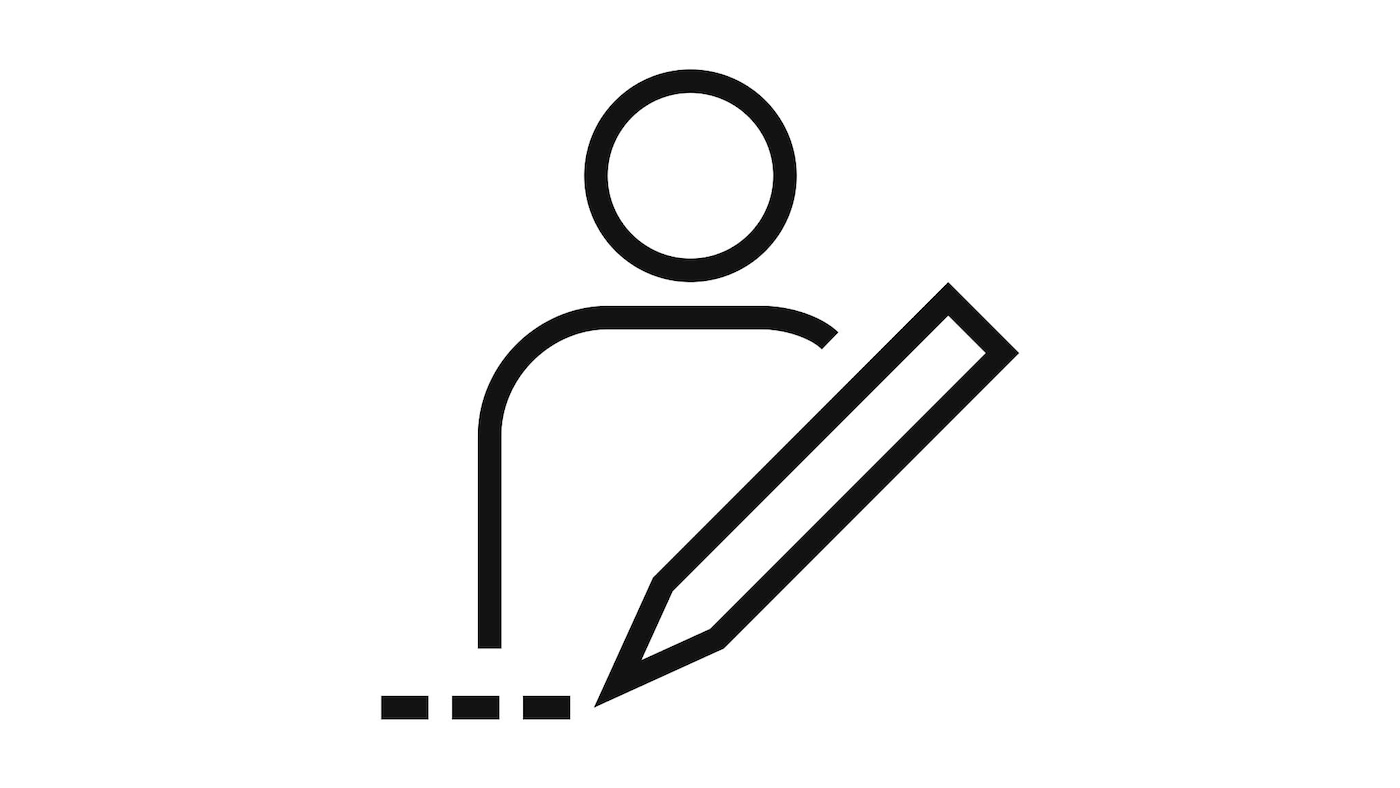 Pictogram of a person behind a pencil signifying planning.