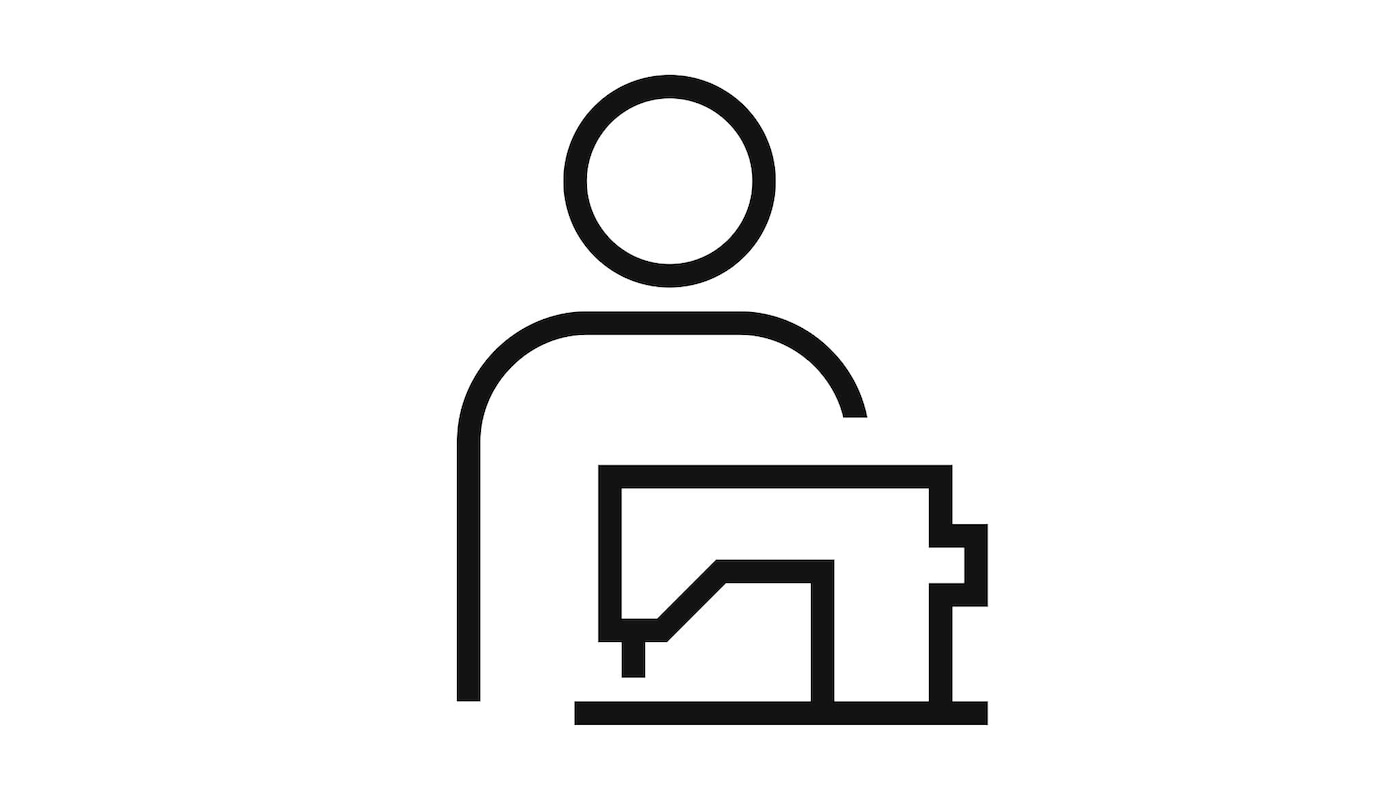Pictogram of a person behind a sewing machine signifying customisation.