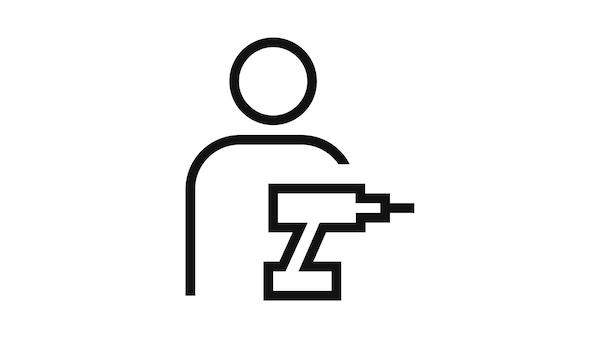 Pictogram of a person standing behind a power tool signifying assembly.