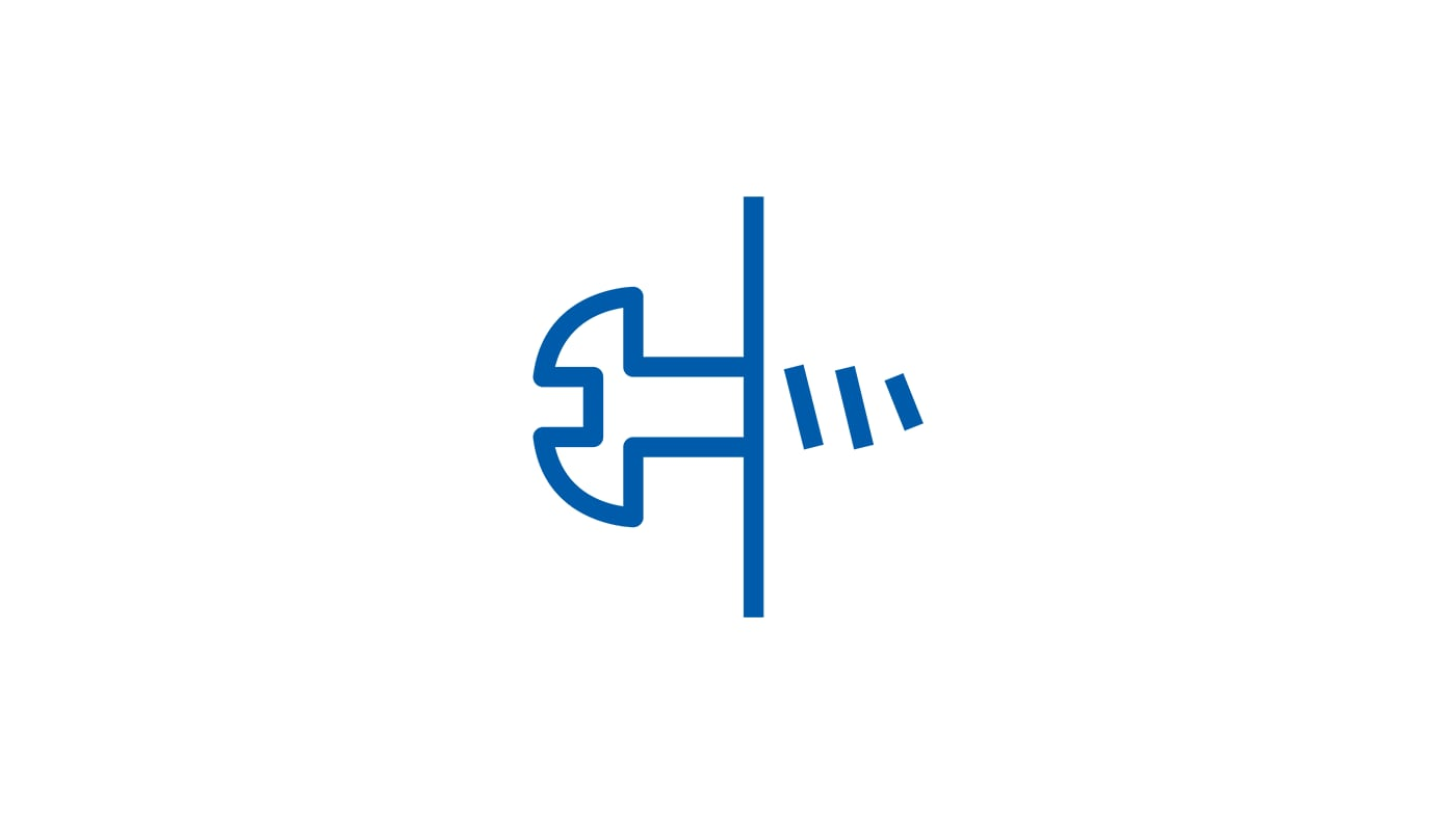 Pictogram of a screw in a surface.