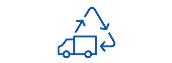 Pictogram of a truck and a series of arrows shaping a triangle