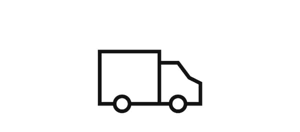 Pictogram of a truck signifying delivery.