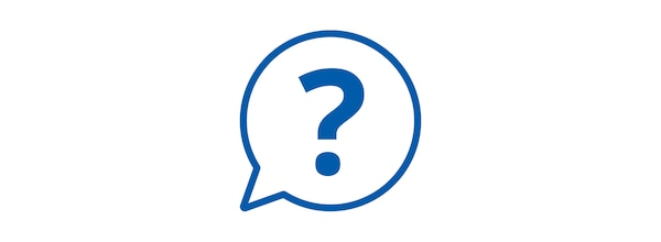 Pictogram of speech bubble with a question mark.