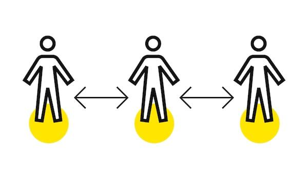 Pictograma das distâncias de segurança entre pessoas