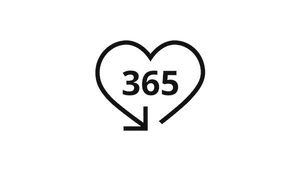 Pictograma de um coração azul com uma seta no fim, que simboliza uma experiência agradável com uma devolução IKEA.
