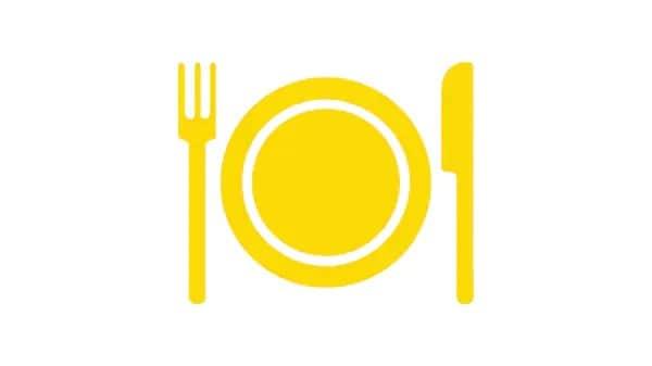 Pictograma de um prato e talheres amarelos