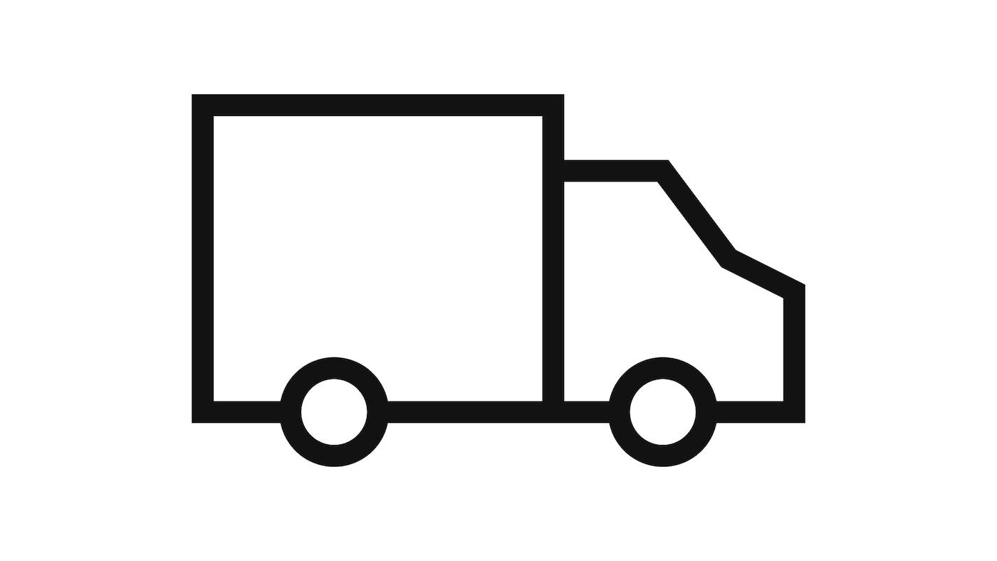 Pictograma de uma carrinha que representa entregas.