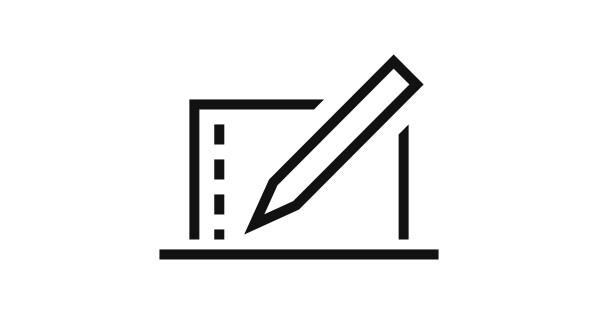 Pictograma de un ordenador portátil y un lápiz.