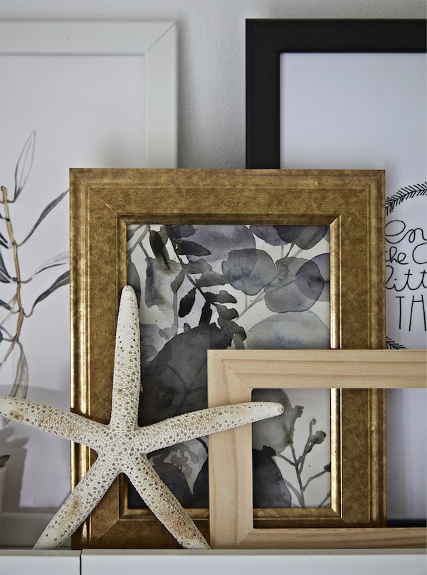 Picture frames and a starfish on a bathroom shelf.