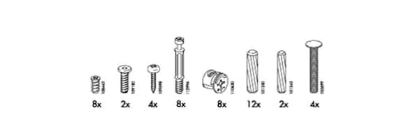 Picture of the included parts and screws