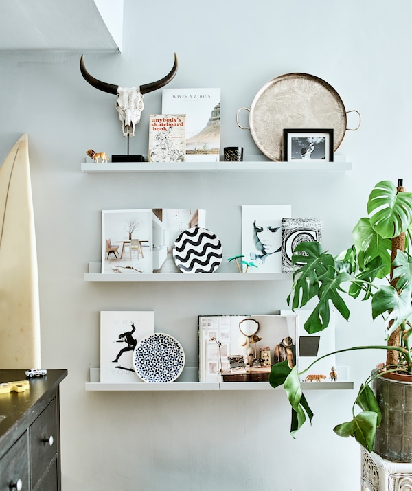 Pictures and ornaments displayed on three picture ledges, next to a large plant.
