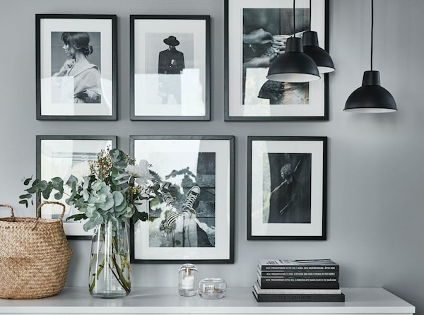 Pictures frames on a wall.