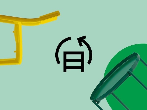 Pieces of furniture are floating on a green background. The IKEA buy back and resell service icon is situated in the middle.