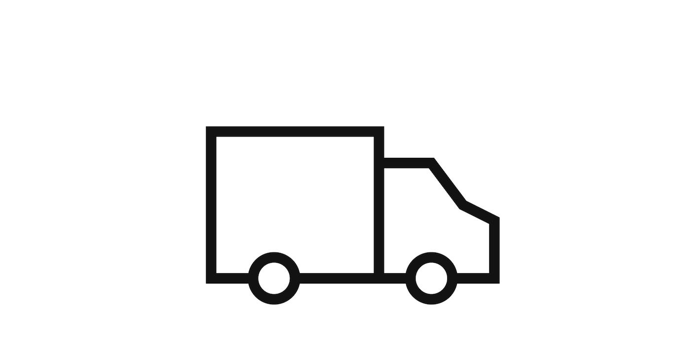 Piktogram av en lastebilde som leverer varer for IKEA.