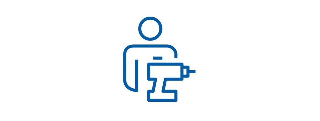 Piktogram eines Mannes mit Bohrmaschine