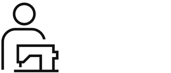 Piktogram osobe i šivaćeg uređaja