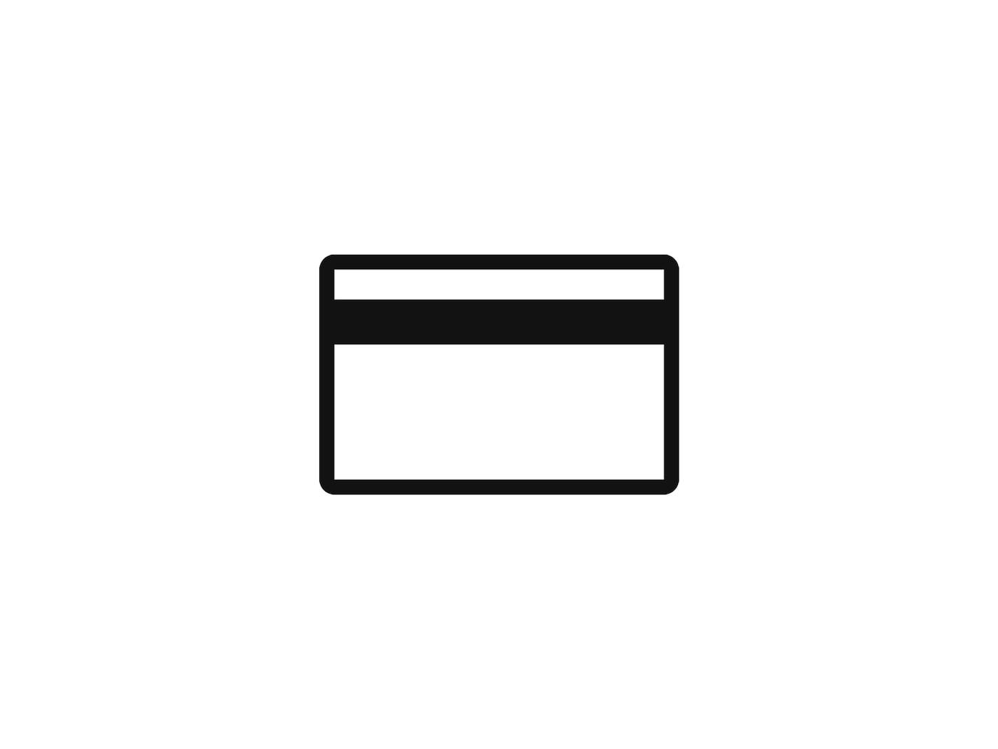 Piktogram platební karty symbolizující finance.