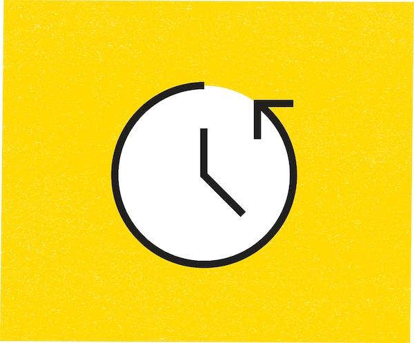 Piktrogram znázorňujúci kratší čas strávený v obchode.