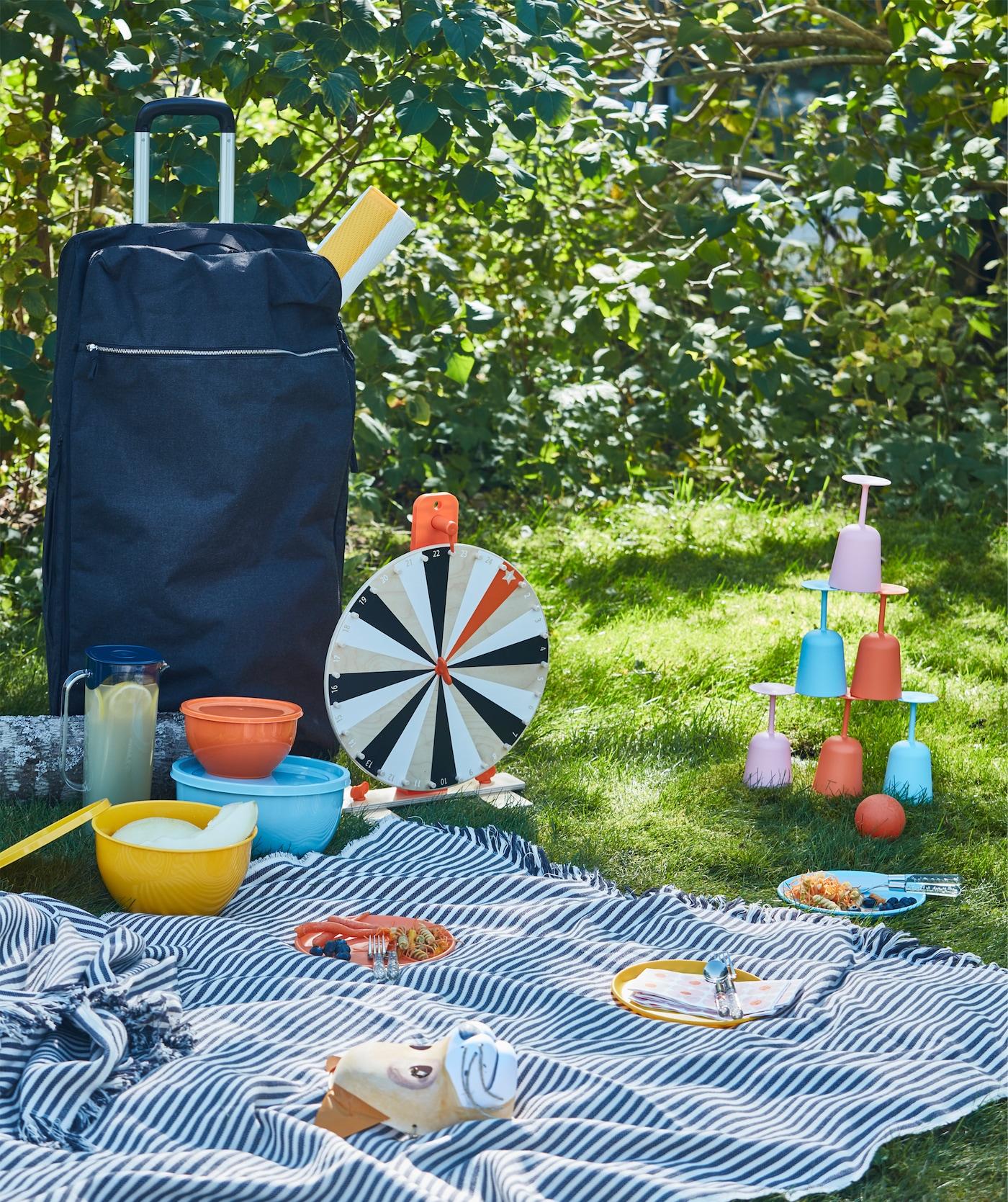 Pique Nique Sur Lu0027herbe Avec Vaisselle, Jeux Et Une Grande Couverture,