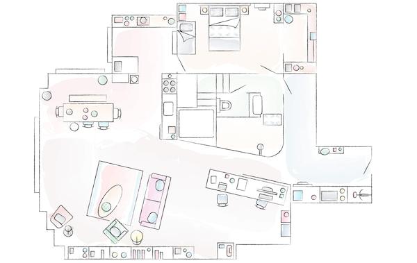 Plan de la maison de Deborah et Adam.