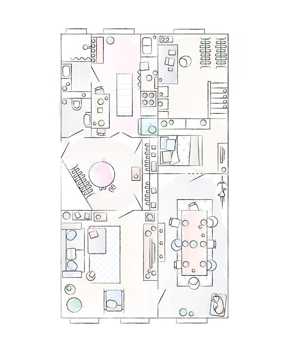Plan mieszkania Julii i André.
