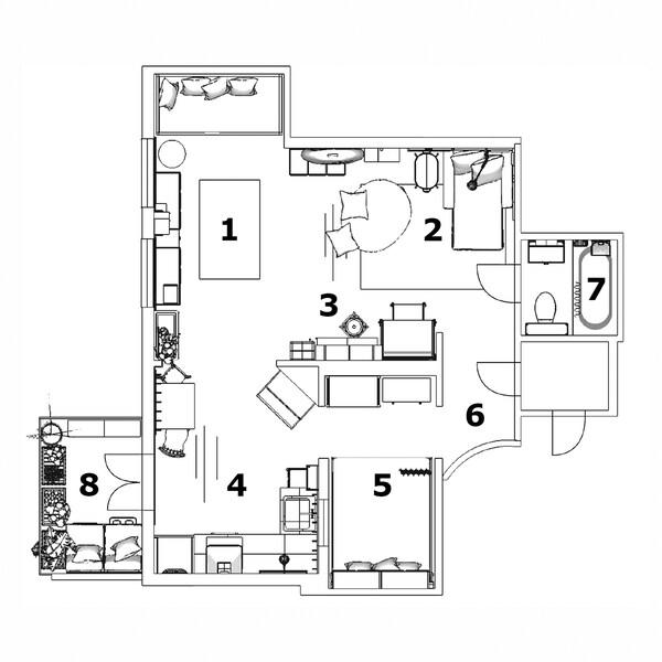 Plan mieszkania taty i synka
