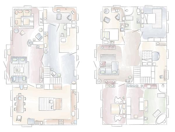 Plano de la casa de Gina en Noruega.