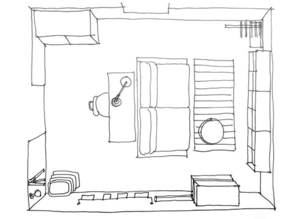 Plano de planta con la distribución de una habitación.