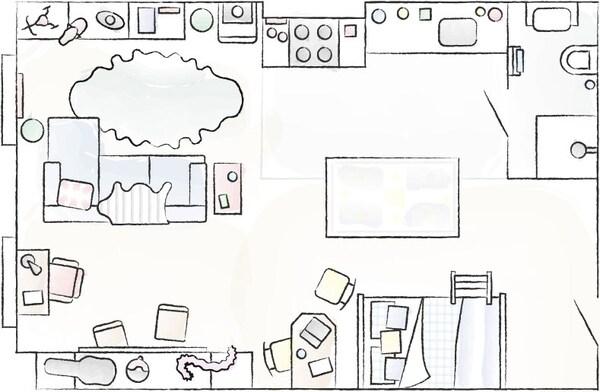 Plano de planta do estudio de Donald e Ben.