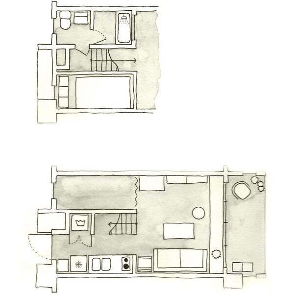 Plànol de la planta de l'apartament de l'Aiko.