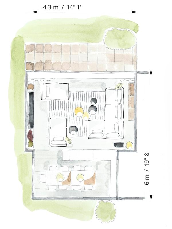 Planritning i färg som visar möbelarrangemanget i ett rum.