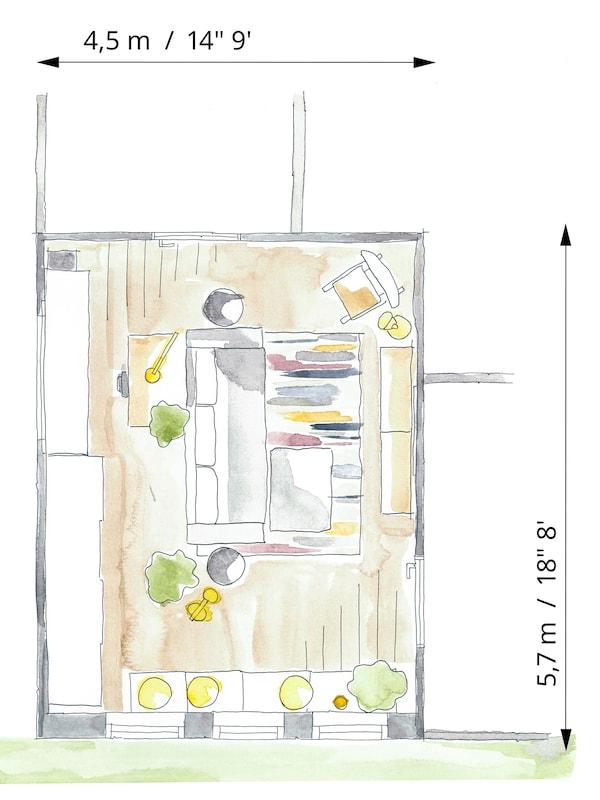 Planritning som visar att det är lätt att växla mellan tv-rum, läsrum, arbetsplats eller sovrum i en lägenhet.