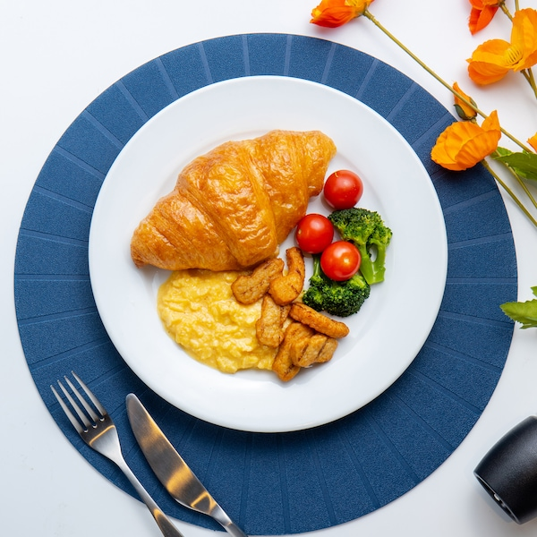 Plant-based Pieces with Scramble Eggs, Croissant, Cherry Tomato & Broccoli