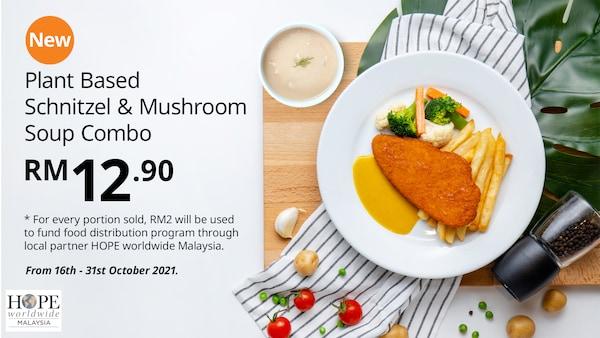 Plant Based Schnitzel & Mushroom Soup Combo