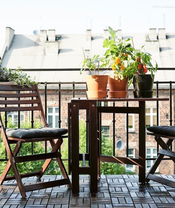 Plante în ghiveci pe o masă de lemn închis la culoare cu scaune de lemn asortate, cu grilaj de balcon în fundal.