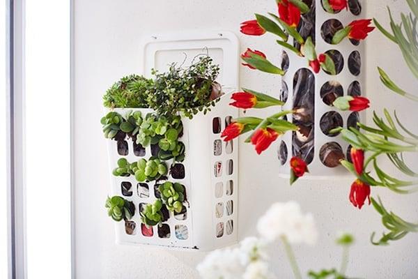 Plantenbak in de vorm van een prullenbak aan de muur gevuld met bloemen en planten