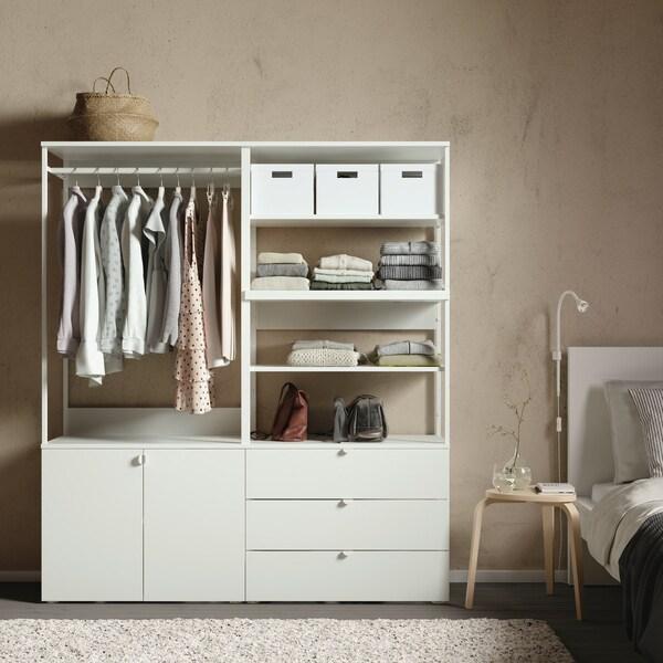 PLATSA Kleiderschrank m 2 Türen+3Schubl., weiß, Fonnes weiß, 160x42x181 cm