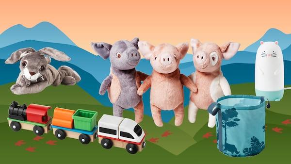 Plüssállatok és játékok, melyek Peták pénzért vásárolhatók meg.