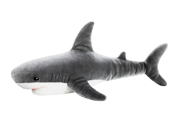 plush shark toy on white background