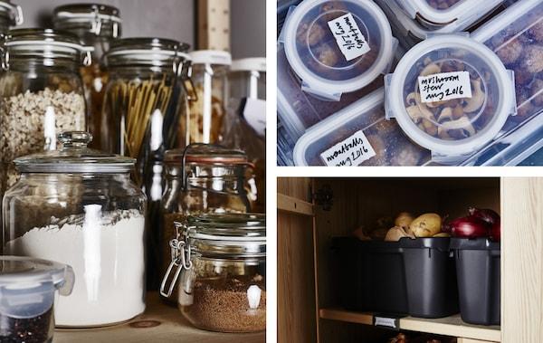 Plusieurs photos d'aliments rangés dans des contenants ou des boîtes en plastique, et dans des pots en verre placés sur un comptoir.