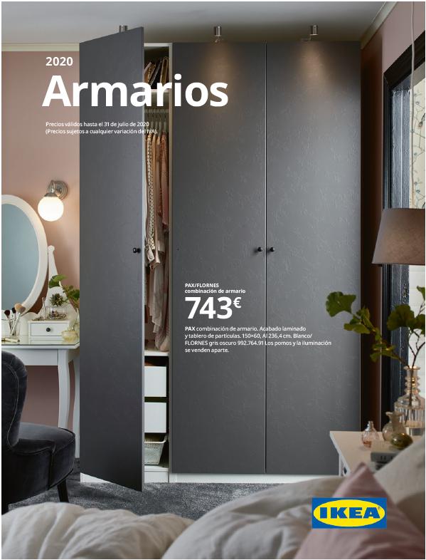 Portada del folleto de armarios IKEA2020 con un armario gris con una de las puertas abierta y un tocador.