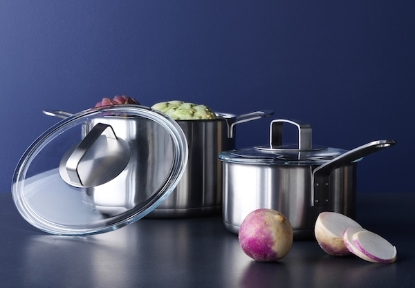 Pots and pans from IKEA 365+ cookware series.