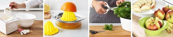 Praktische Küchenhelfer für jeden Tag - so wird das Kochen und die Vorbereitung in der Küche einfach: Maßlöffel, Zitruspresse, Küchenscheren und Apfelschneider