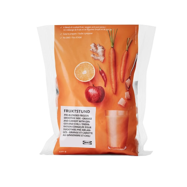 Pre-blended frozen smoothie mix (orange and carrot)