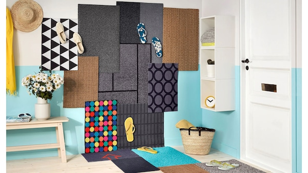 Pri výrobe farebnej rohožky IKEA RORSLEV sme nespotrebovali žiadny materiál, pretože je vyrobená z recyklovaných PET fliaš.